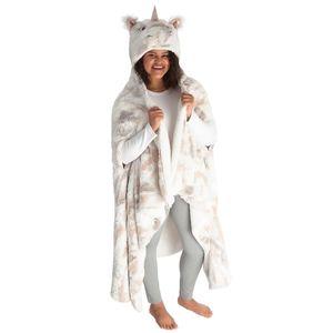 Unicorn Hooded Plush Wrap Blanket